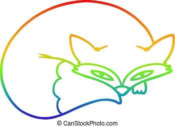 rainbow gradient line drawing cartoon curled up fox