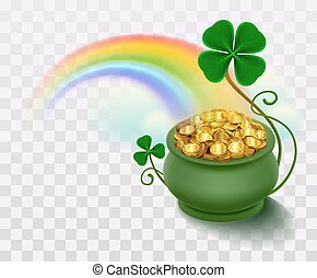 Rainbow, green leaf lucky clover and pot