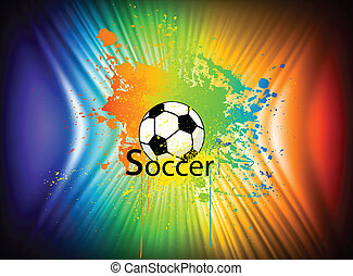 Rainbow ink background with soccer ball. Vector
