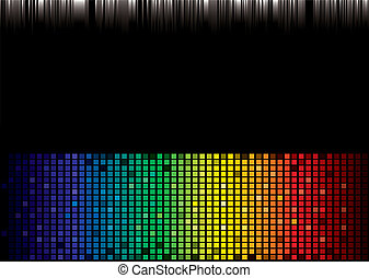 Brightly coloured abstract rainbow background with square pattern