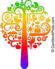 Rainbow tree with ecological icons