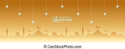 ramadan kareem golden banner with stars and mosque