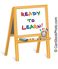 Child's whiteboard wood easel, marker pens, eraser, Ready to Learn!, copy space. For preschool, daycare, nursery school, kindergarten. EPS8 in groups for easy editing.