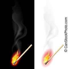 Realistic burning match. Illustration on white and black background