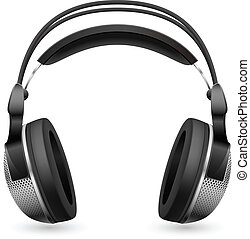 Realistic computer headset. Illustration on white background