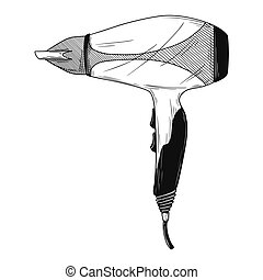 Realistic sketch. Hair dryer isolated on white background.