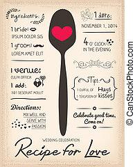 Recipe card Wedding Invitation design cooking concept