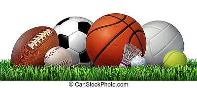 Recreation leisure sports equipment on grass with a football basketball baseball golf soccer tennis ball volleyball and badminton birdie as a symbol of healthy physical activity isolated on a white background.