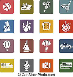 Recreation, Vacation & Travel, icons set
