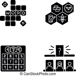 Recreational games black glyph icons set on white space