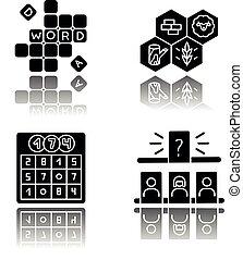 Recreational games drop shadow black glyph icons set