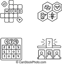 Recreational games pixel perfect linear icons set