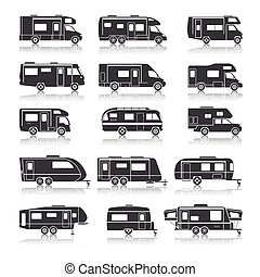 Recreational vehicles for family tourism and vacation black icons set isolated vector illustration
