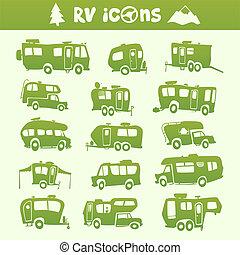 Vector green recreational vehicle shape cartoon set