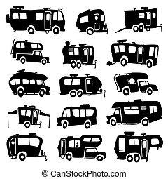 Vector set of funny cartoon Recreational Vehicles