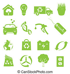 Recycling and clean environment icon set