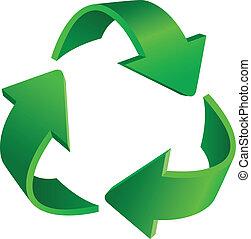 Triangular recycling symbol. Illustration on white background.