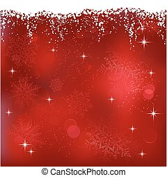 Red abstract background with stars and snowflakes. Great for Christmas or winter themes.