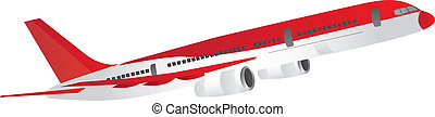 red and white aircraft isolated over white background. vector