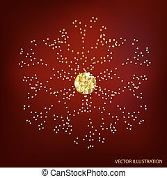 Red background with gold snowflake. Vector illustration.