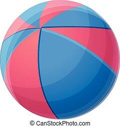 Red blue beach ball icon, cartoon style