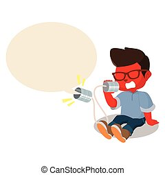 red boy shouting on can phone