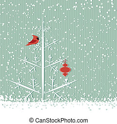 Red cardinal and tree