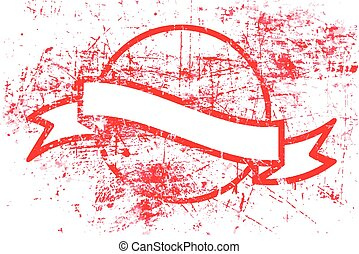 red circle grunge rubber stamp and ribbon with copyspace in the middle isolated on white