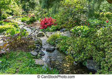 Red Flowers And Creek 2