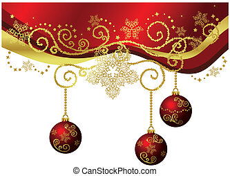 Red & gold Christmas border with Christmas balls. This image is a vector illustration. Isolated