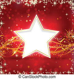 Red golden Christmas star background