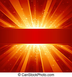 Red golden light burst with stars and copyspace