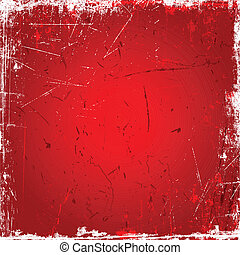 Grunge background with scratches and stains in shades of red