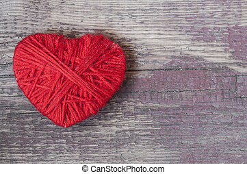 heart shape symbol made from wool