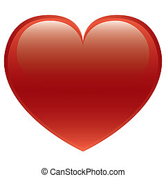 Glossy red heart vector isolated