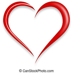 Red Love Heart Vector Illustration