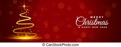 red merry christmas banner with golden tree