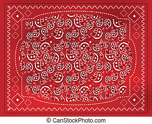 A red paisley patterned handkerchief background with gradient mesh.