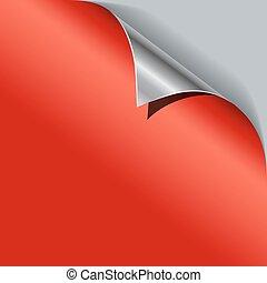 Red paper curled metallic corner vector template.