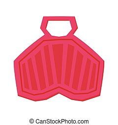 Red Plastic Sled, Winter Outdoor Sports and Leisure Equipment Vector Illustration