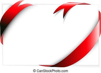 Red ribbon around blank white paper