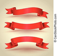 Red ribbon banner set