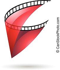 Red Transparent Film Reel Icon