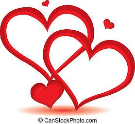 red valentine day heart background. Vector illustration.