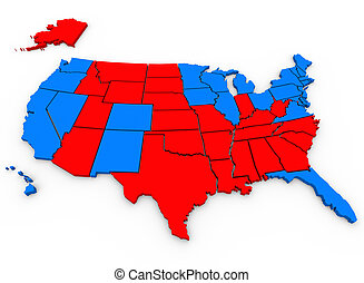 3d rendered, illustrated United States of America map shows the blue states that voted for Barack Obama and red states that voted for Mitt Romney in the 2012 USA presidential election