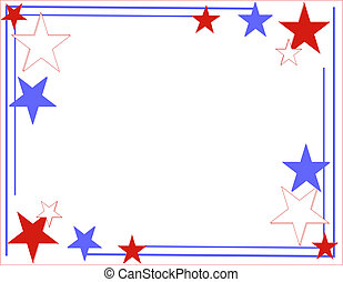 Red, white and Blue Lines and stars