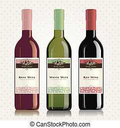 Red, white and rose wine labels