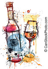 This Red Wine Vector Image was analog created and digital traced. No opening paths and only one Layer.
