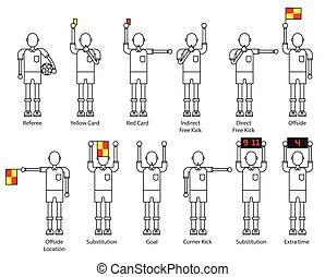referee football signals icon set.