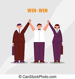 Referee raises two hands of businessmen and businesswoman. Win to Win. Color vector cartoon illustration.